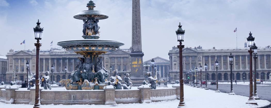 Place de la concorde sous la neige