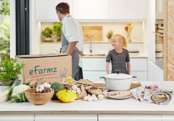 cuisine avec box efarmz sur le comptoir